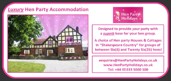 Please use this link to see details of the many great properties that you could hire for YOUR Hen event around Stratford Upon Avon.